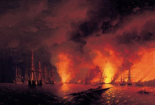 Fotoğraf: Ayvazovski'nin 1853 Sinop Savaşı Tablosu